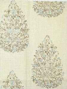 #3 Most Popular John Robshaw Fabric - Kedara Aqua Cocoa